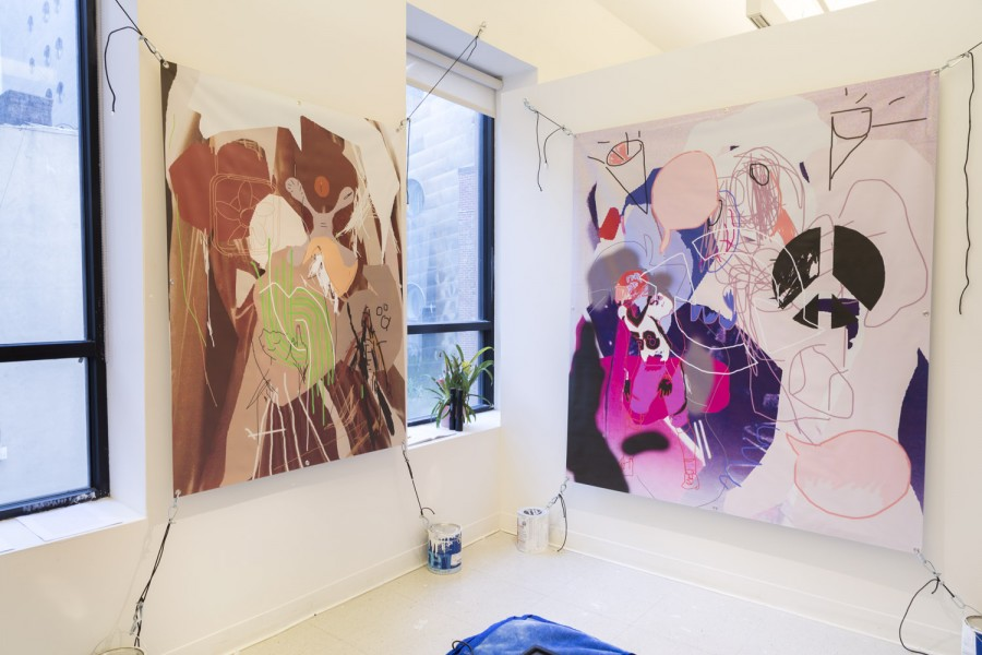 A view of two abstract paintings hanging in the studio of SVA student Peter Shugart.