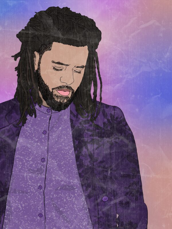 A digital drawing of J. Cole. Using a photo from his GQ photo shoot.
