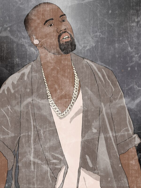 A digital drawing of Kanye West during a performance.