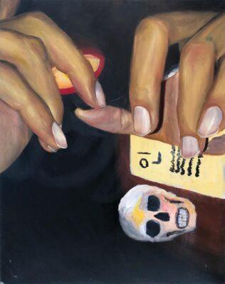 Christina Athas, Smiley Nails, 2020. Oil on canvas.