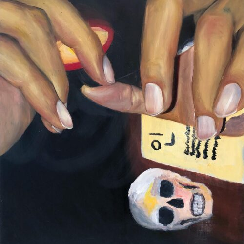 Christina Athas, Smiley Nails, 2020. Oil on canvas.