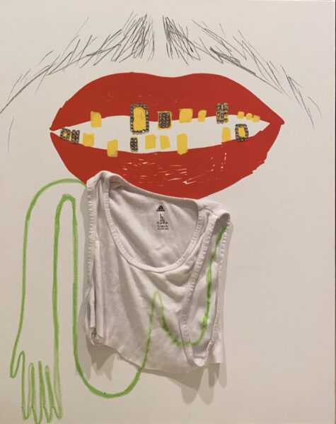 assemblage including silkscreen red lips, yellow teeth, green breasts and a white under shirt
