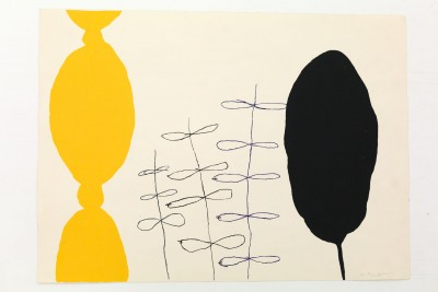 A print by Tono Carbajo. Two abstract shapes printed with yellow and black paint.