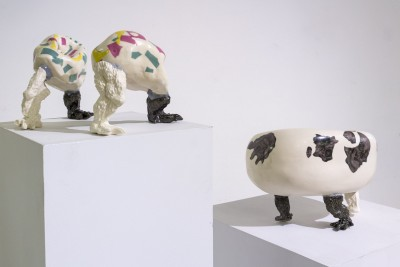 Surrealistic Glazed fired work using slip casting