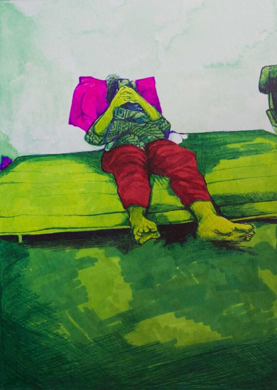 Farwah Rizvi, In Somebody Else's World (Virtual Isolation Series), 2020. Ballpoint, marker, and watercolor on paper. 5.5 x 7 inches.