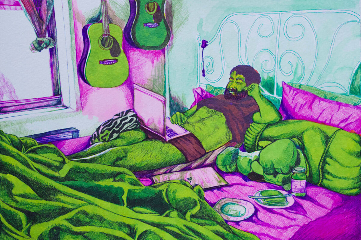 Farwah Rizvi, Work From Home (Virtual Isolation Series), 2020. Ballpoint and marker on paper. 5.5 x 7 inches.
