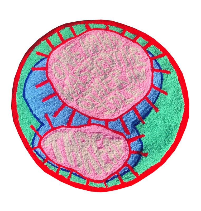 Sophia Santella, Idle Threat, 2020. Yarn and fabric. 74 inch diameter.