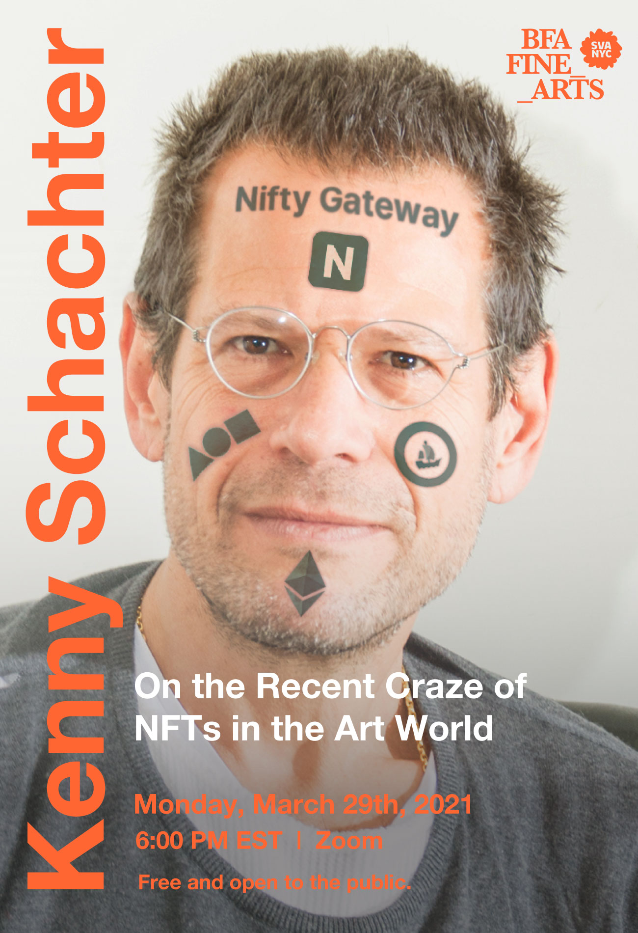 """A photograph of artist, writer and critic, Kenny Schachter. The photograph is a headshot of Kenny with digital tattoo-like images and text across his face. The text on his forehead says the words, """"Nifty Gateway""""."""