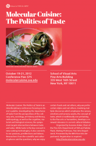 An advertisement for a conference at the School of Visual Arts titled, Molecular Cuisine: The Politics of Taste. The conference is held on October 19 - 21, 2012. The poster is red and features a photograph by Suzanne Anker titled, Sea Rose.