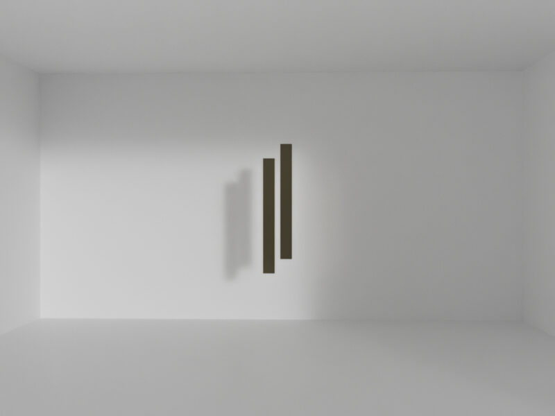 In a white gallery space there are two rectangular brass bars in the center near the rear wall. Identical in size, but slightly apart with height difference. Floating without any support.