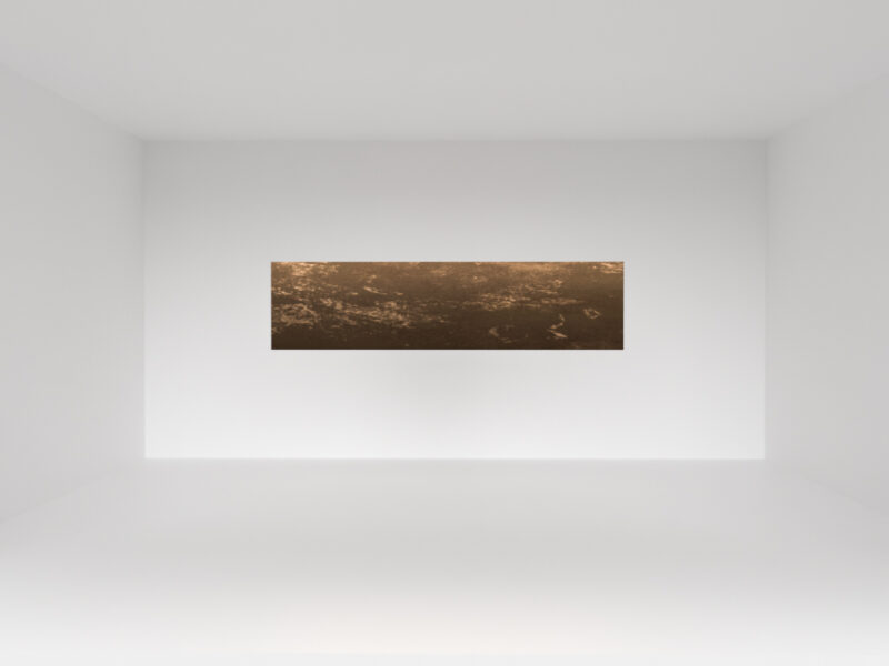 In a white gallery space there is a rectangular copper sheet measuring 100cm by 50cm with thickness of 10cm. The surface of the copper is mildly scratched and the sheet is floating in the air.