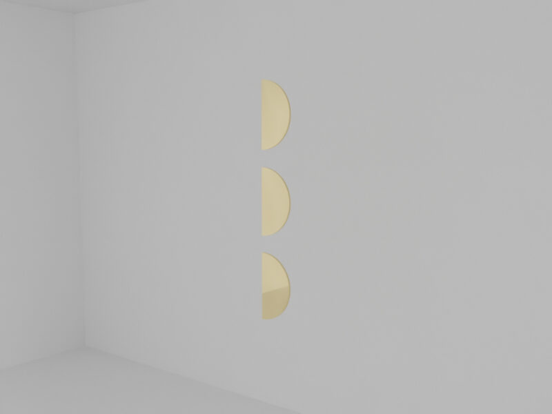 In a white gallery space there are three half circular shaped plates aligning from top to bottom. Each 20cm apart from another. The left edges are vertical to the floor suggesting a light that is not there.