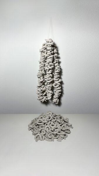 Yilin Sun, 99 Tangles, 2020. Ceramic, various dimensions.