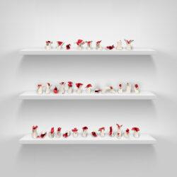 Yilin Sun, Flower Sacrifice, 2020. Ceramic, each 6 inches tall.