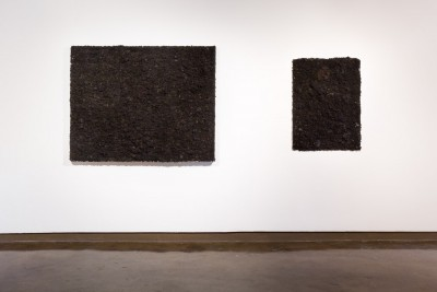 Two artworks by Ade Bunmi Gbadebo hanging on a wall. The work features human hair that was collected from barber shops that have been sewn onto a canvas.