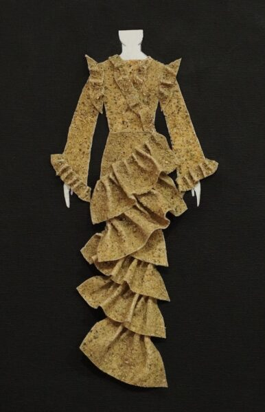 Tiffany Bales, Sample 3, 2020. Unbleached muslin fabric, sand, mold builder, thread, canvas, cardboard, body paper cutout, 9 x 6 inches.