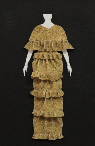 Tiffany Bales, Sample 4, 2020. Unbleached muslin fabric, sand, mold builder, thread, canvas, cardboard, body paper cutout, 9 x 6 inches.