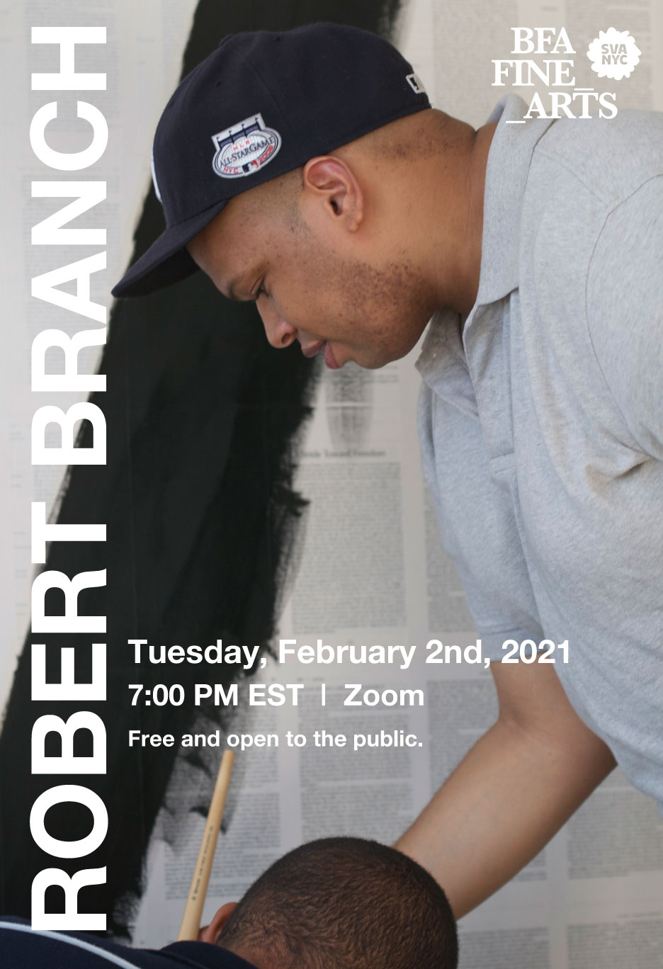 A poster for the visiting artist lecture with Robert Branch at the School of Visual Arts. The lecture will be held on Zoom, Feb 2, 2021 at 7pm EST.
