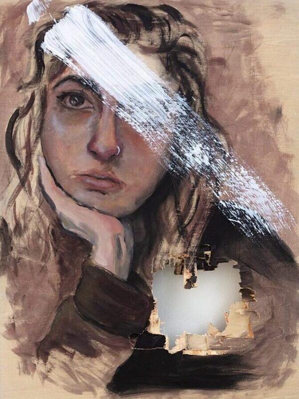Valeria Pezo, Larga Distancia, 2019. Oil on Canvas, 12 x 12 inches.