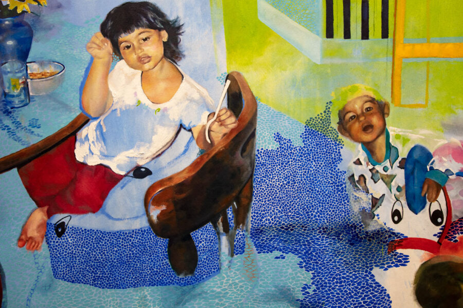 Veronica Fernandez, <i>Find Me When I'm Not Hungry and Tired</i>, 2020. Oil on canvas, 84 x 90 inches. Detail.