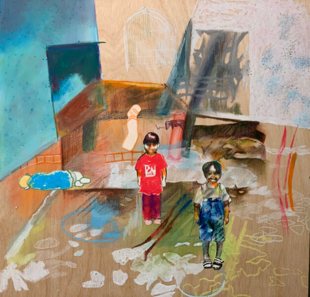 Veronica Fernandez, <i>Backyard</i>, 2020. Oil pastel, colored pencil, paper on wood, 12 x 12 inches.