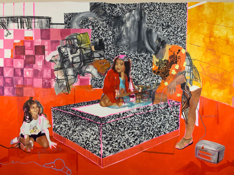 Veronica Fernandez, <i>One To Thirty Days</i>, 2020. Oil on canvas, 84 x 144 inches.