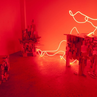 "Wei Dong: ""My Little Red Prank #5: Welcome Home "". 2012. Sculpture, Installation, mixed media. Dimensions variable"