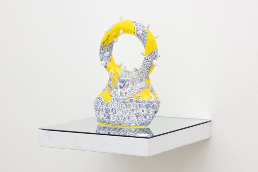 Carol Cao, The Dragon, 2019. Glazed Ceramic, 12 x 6 x 1.25 inches.