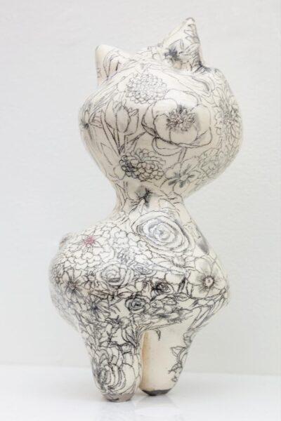 Carol Cao, The 100 Flowers on Kitty, 2019. Glazed Ceramic.