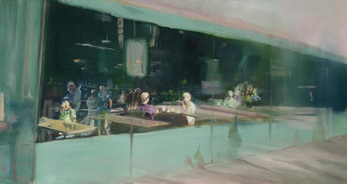 Xinyu Han: Green Painting, 2019. Oil on canvas. 26 x 49 inches.