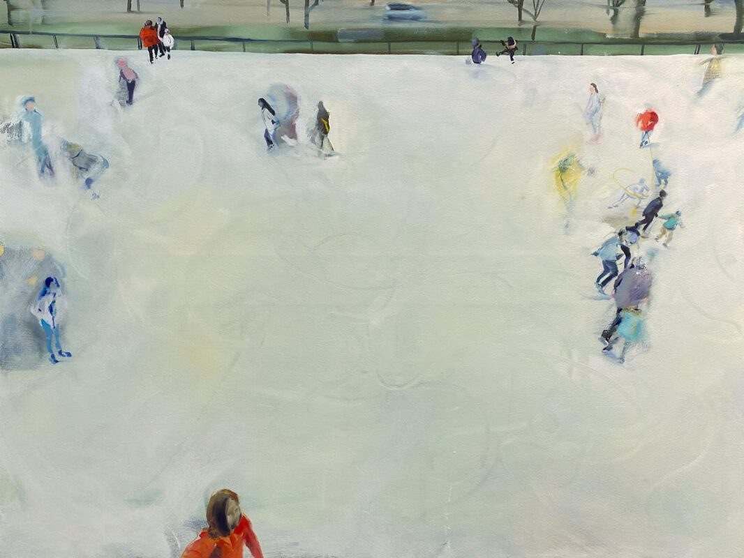 Xinyu Han: Skiing, 2020. Oil on canvas. 36 x 48 inches.