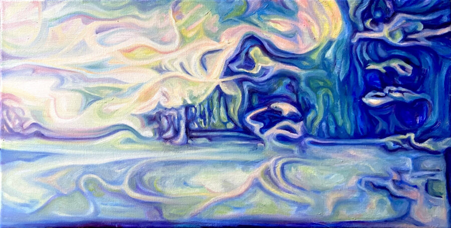 From the artist: It is a combination of landscape paintings that contains the elements of mountain, river, rock, and cloud with the geese. The geese are integrating with the landscape barely discernible.