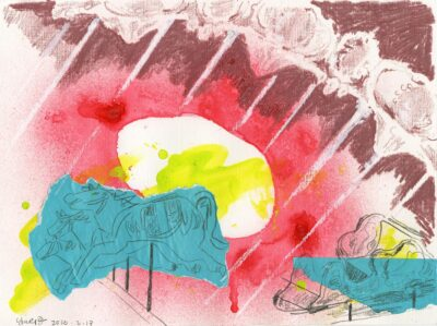 Yiwei Zhang, Merry-Go-Round II,2020, Acrylic, oil pastel, spray paint, and graphite on paper, 9 x 12 inches.