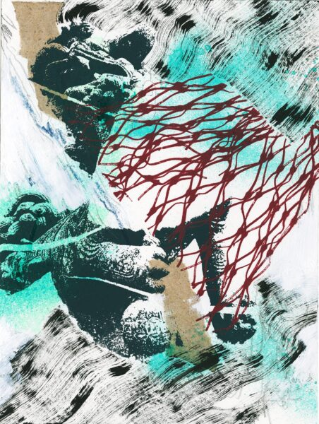 Yiwei Zhang, Rivers I, 2019. Acrylic, Ink, spray paint, silkscreen, and rice paper, 12 x 9 inches.