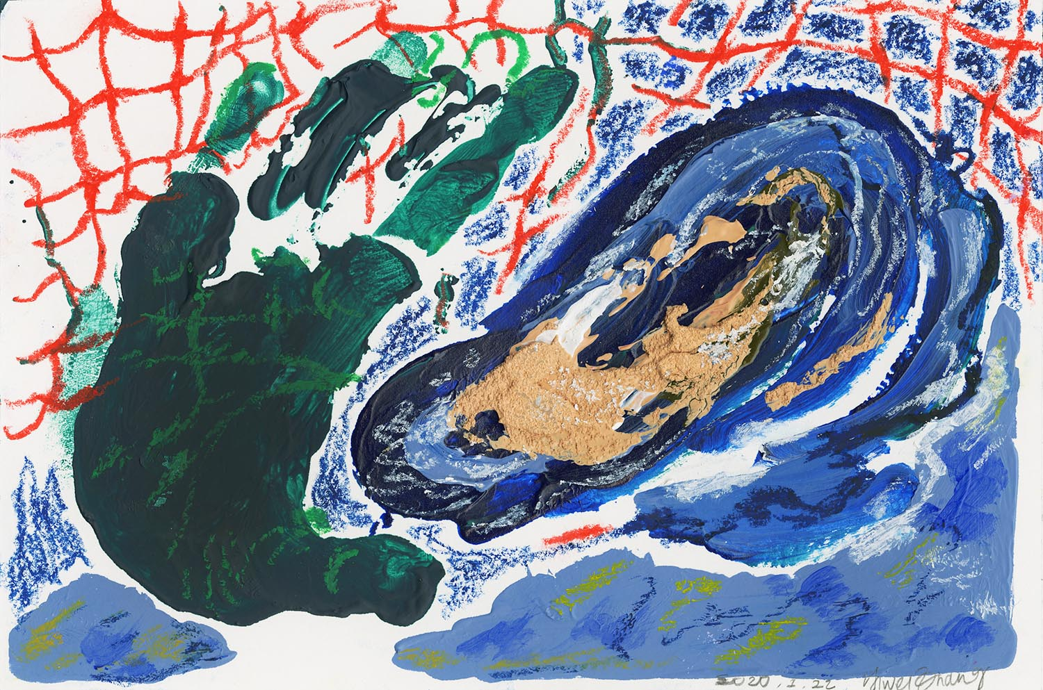 Yiwei Zhang: Untitled (oyster), 2020, Acrylic, Oil Pastel, Graphite on Paper, 6x9 inches.