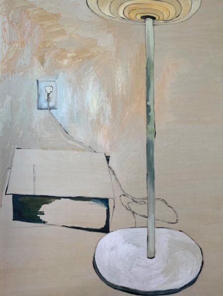 Yiyi Gu, A Corner of My Room, 2020. Oil paint on wood, 40 x 30 inches.