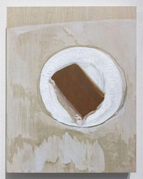 Yiyi Gu, Tiramisu, 2020. Oil and graphite wood, 14 x 11 inches.