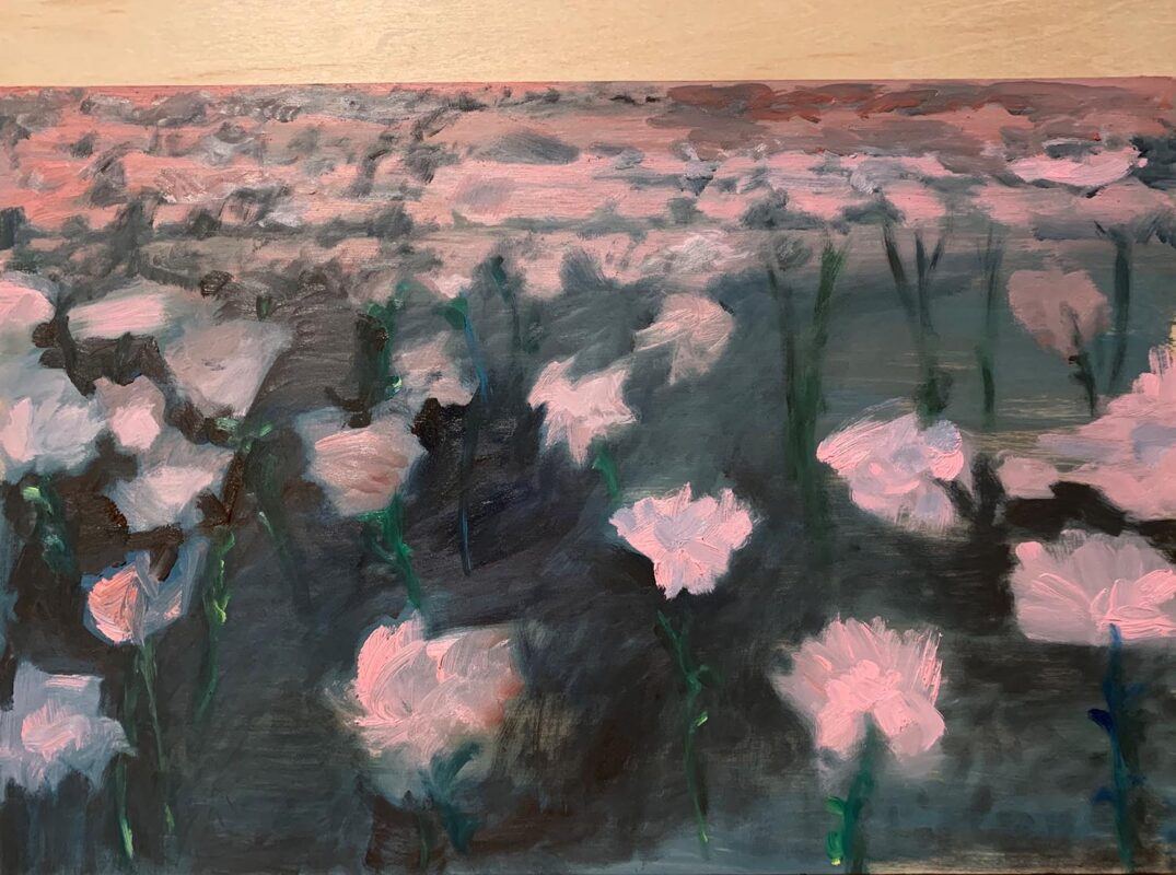 Yiyi Gu: Flowers, 2020. Oil paint on wood. 12 x 16 inches.