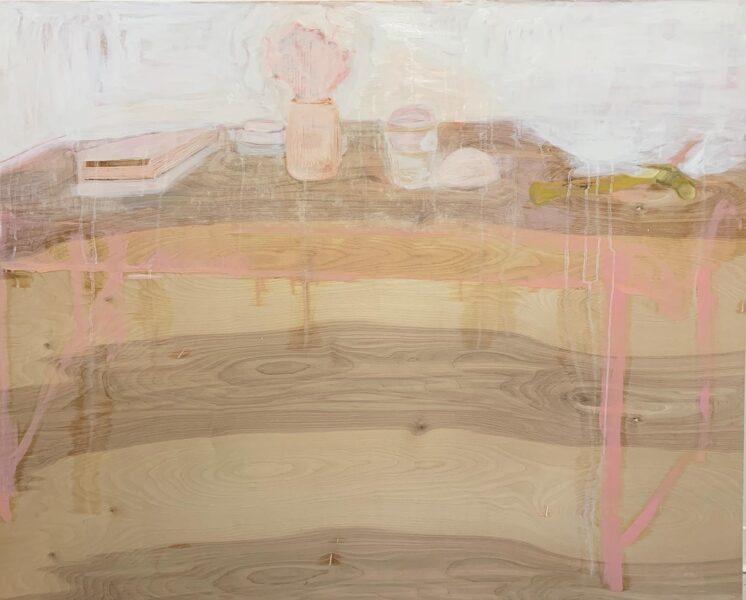 Yiyi Gu, Under my Desk, 2020. Oil on wood, 31 x 46 inches.