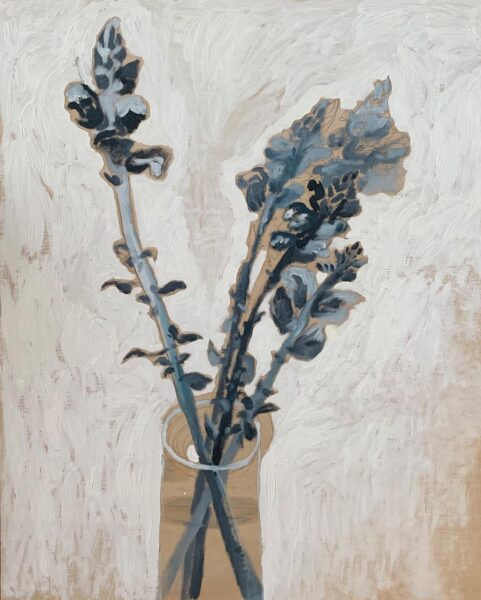 Yiyi Gu, Untitled, 2020. Oil and graphite on wood, 20 x 16 inches.