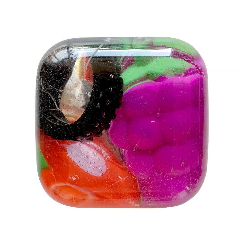 Yizhi Liu, NO.2, 2020. Resin, toys, acrylic. 3.5 x 3.5 x 2.5 inches.