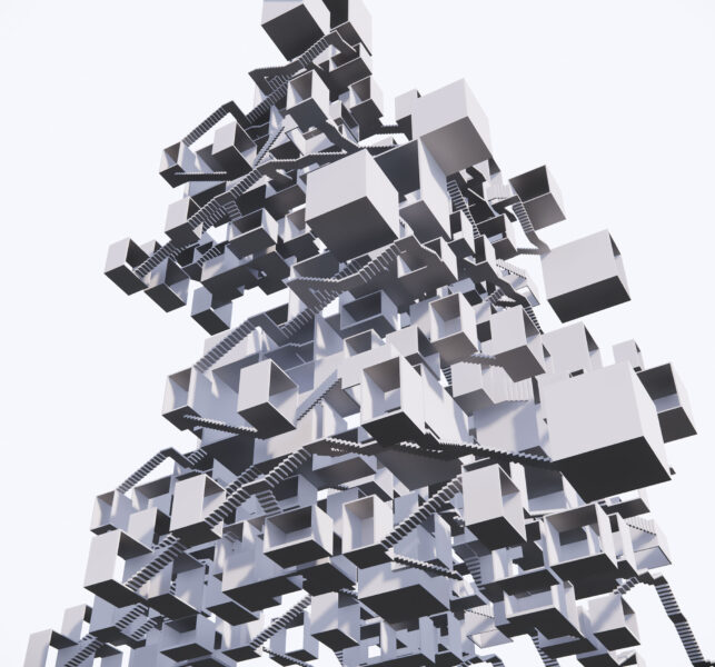 Digital rendering of a sculpture by Zihan Chen. the sculpture is made up of many closed and open boxes and staircases.