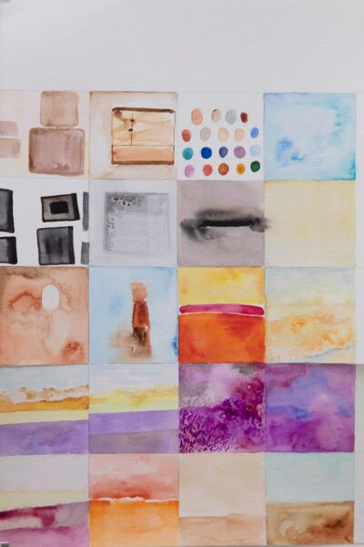 Zihao Ren, <i>Box in Box</i>, 2020, Watercolors, Oil on canvas and wood panels. Dimensions variable. Detail.