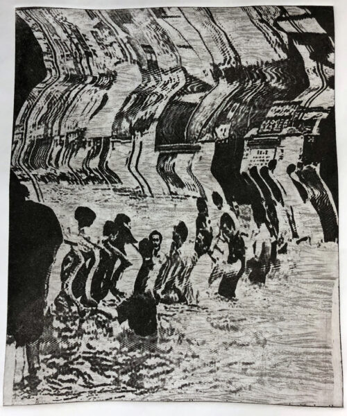 A black and white image. Picture is twisted and shows a flooded city landscape. Some figures are standing on the water looking at each other.