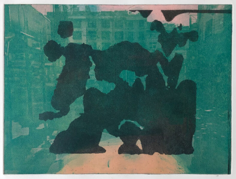 This print belongs to the print series Fragments. The picture shows a black silhouette of abstract shape on the top of green color flooded city view with a pink sky.