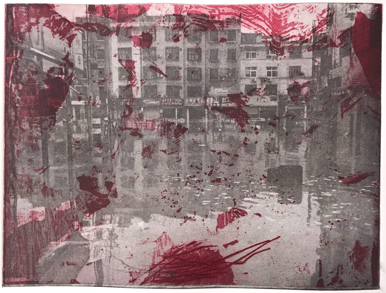 This is a series of prints. It shows a black &white flooded city landscape with scarlet abstract textures.