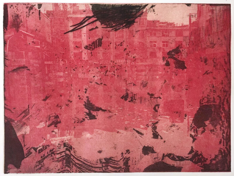 This is a series of prints. It shows a yellowish red colored flooded city landscape with black abstract textures.