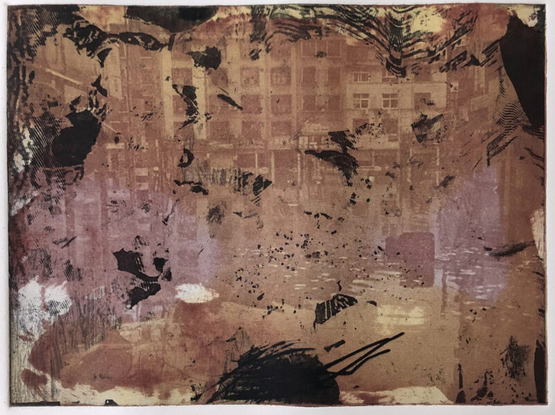This is a series of prints. It shows a brown color flooded city landscape with black abstract textures.