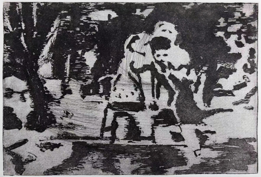 A Black and white image. It's an abstract image but it still can recognize a group of people who are floating on the water with a board.