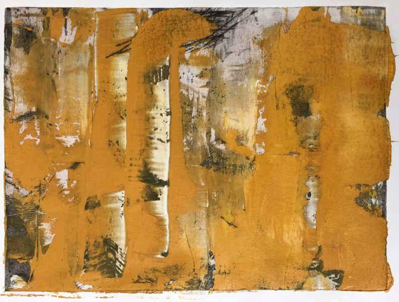An abstract image. Yellow ochre brushstrokes cover a chaotic black textures. It's about an impress of flood memory.